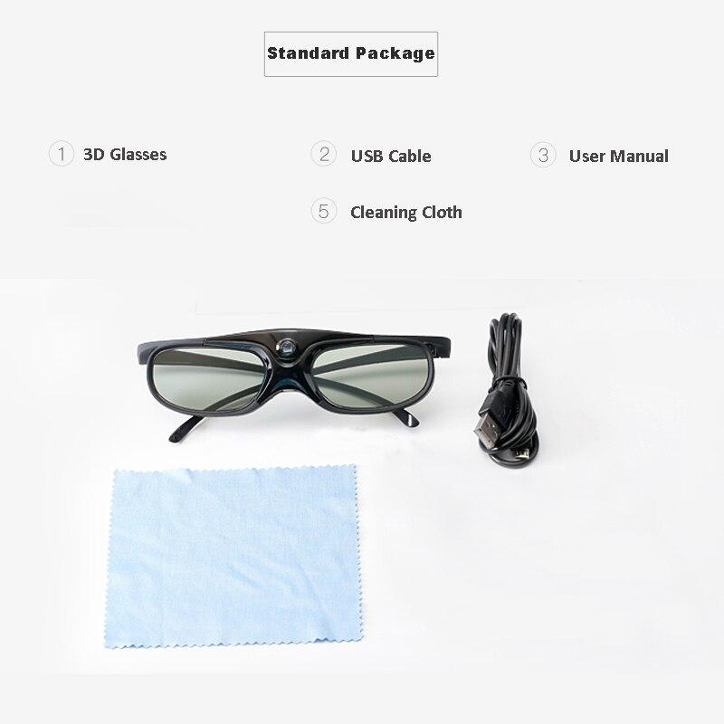 Obturador activo 96 144Hz gafas 3D recargables para Benq Acer X118H P1502 X1123H H6517Abd H6510Bd proyector Optoma Jmgo V8 Xgimi - 6