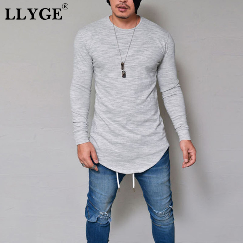 Fashion Long Sleeve Men T-shirts Casual Slim Fit Elastic Solid O-Neck Tees Tops