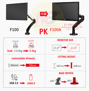 Image 4 - NB F100A Gas Spring Arm 22 35 inch Screen Monitor Holder 360 Rotate Tilt Swivel Desktop Monitor Mount Arm with Two USB3.0 Ports