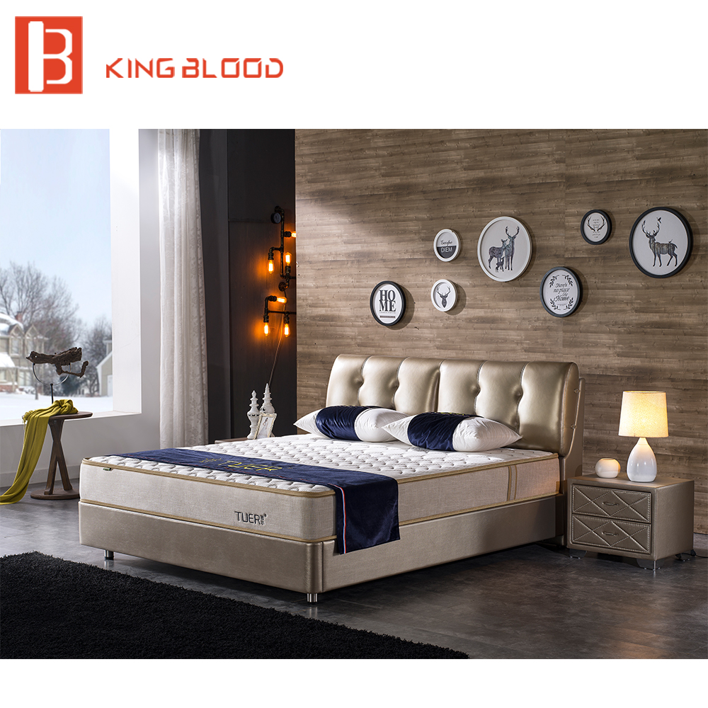 Indian Modern Genuine Leather Solid Wood Double Bed