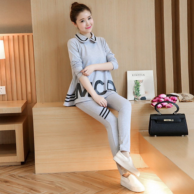Maternity fall Sweater Suit Pregnant Breast Feeding Clothes Clothes For Pregnant Women Pajamas  women letters two piece