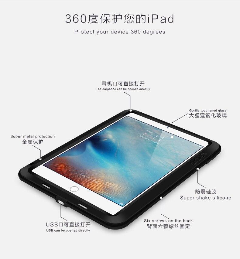 Amor Mei potente a prueba de golpes a prueba de aluminio de la cubierta del caso para Apple iPad aire/aire 2/Mini/2/3/4/5/6/CaseHeavy w/gorila Vidrio Templado - 3