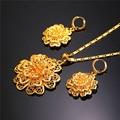 U7 flor de lujo de joyas de oro amarillo plateado de boda nupcial conjuntos collar pendientes para las mujeres s158