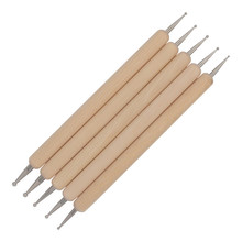 5PCS Ball Stylus Polymer Clay Pottery Ceramics Sculpting Modeling Tools Wooden Handle Clay Tools Nail Point Drill Pens