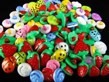 100PCS Mix colors plastic ladybug heart Strawberry Mix shape buttons 1 hole Sewing children Buttons  7NK187