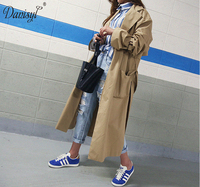 Women X Long Big Pocket Knee Length Khaki Trench Coat Spring Autumn Ajustable Waist Casual Plus