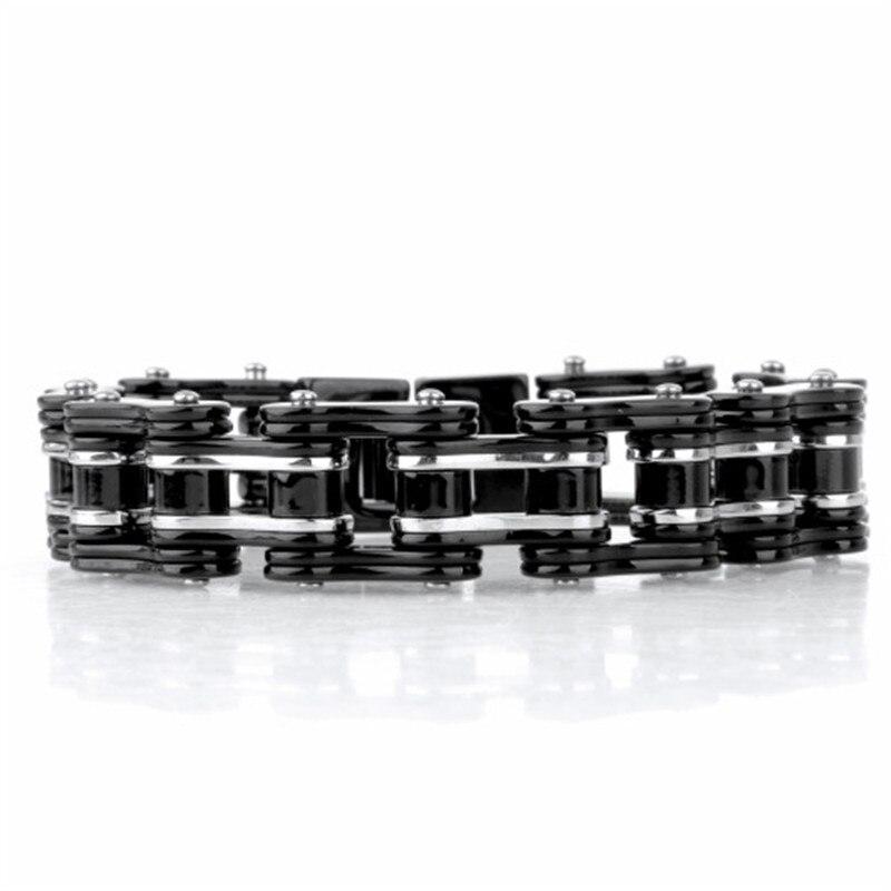 Cool lourd hommes vélos moto lien chaîne punk argent & noir mix acier inoxydable mode bracelet de haute qualité bijoux
