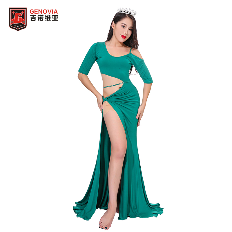 New 2018 Women Oriental Dance Belly Dance Costume Suits Club Stage One-piece Long Skirt Dress