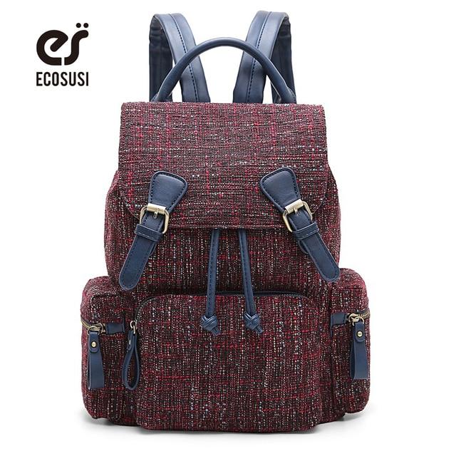 Ecosusi новый холст Для женщин рюкзак сумка 14 дюймов ноутбука Тетрадь для подростков Обувь для девочек подростков рюкзак молодежный женский Mochila Feminina