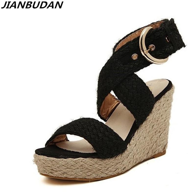 JIANBUDAN platform wedge-shaped female sandals 2018 summer new fashion wool weave Roman sandals, ladies high-heeled toe sandals heeled sandals roberto botella heeled sandals