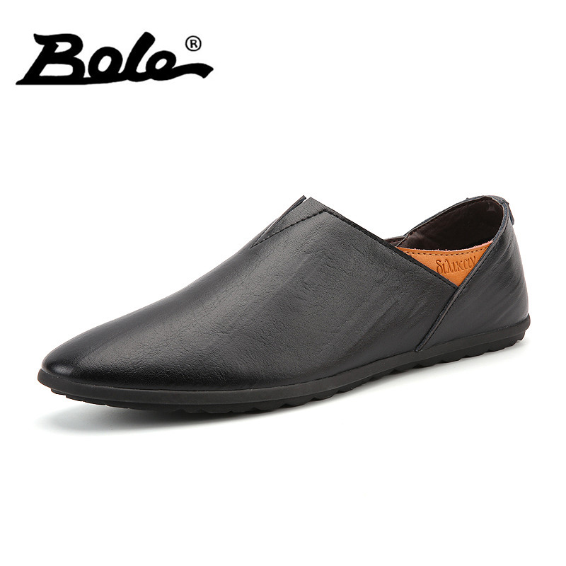BOLE Men Leather Shoes Big Size 38~45 High Quality Pointed Slip On Men Loafers Soft Moccasins Brand Shoes Men Flat Driving Shoes natural suede moccasins men loafers soft brand men shoes casual breathable leather shoes men high quality