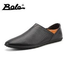 Боле Мужские кожаные туфли большой размер 38-45 Высокое качество острым Слипоны мужские лоферы Мягкие Мокасины Брендовая обувь мужская обувь на плоской подошве обувь для вождения