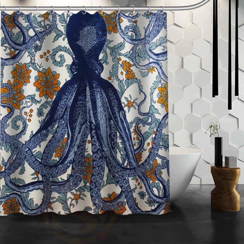 ARL Vintage Octopus Custom Shower Curtain 66 x72 Waterproof Fabric Shower Curtain for Bathroom