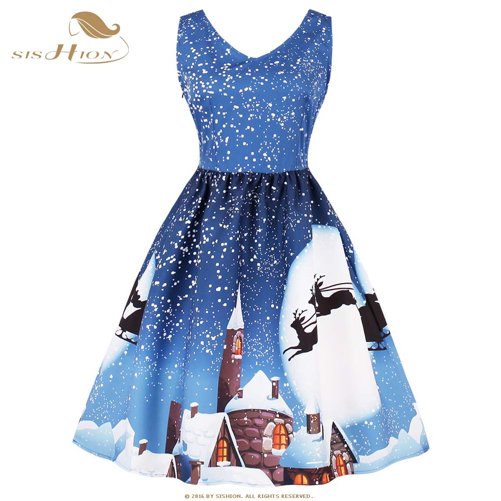SISHION Winter Snow Snowman Print Christmas Dress Sexy Sleeveless Women Blue Red Plus Size Casual New Year Party Dress VD0643B