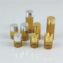 Botella de cristal ámbar Drams con tapa de aluminio, viales de vidrio esencial, botella de prueba de muestra de Perfume, 1ml, 2ml, 3ml, 5ml, lote de 100 unidades