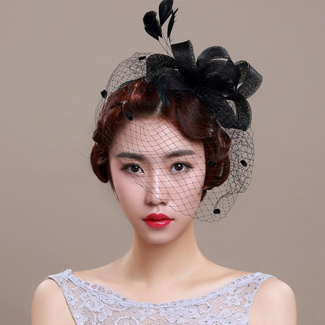 379c8fa5 Bridal Hats 2016 Linen White/Black Ladies Sinamay Wedding Fascinators Hats  Cocktail Hat with Feather