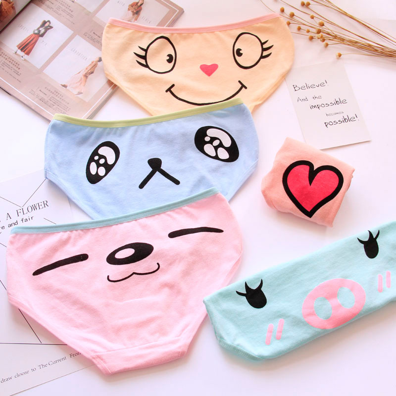 5ae49aeb23fe5 Cute Girls Panties Cotton Cartoon Women Briefs Lovely Animal Face Sexy Female  Lingerie Low Waist Breathable Panty Bragas Mujer