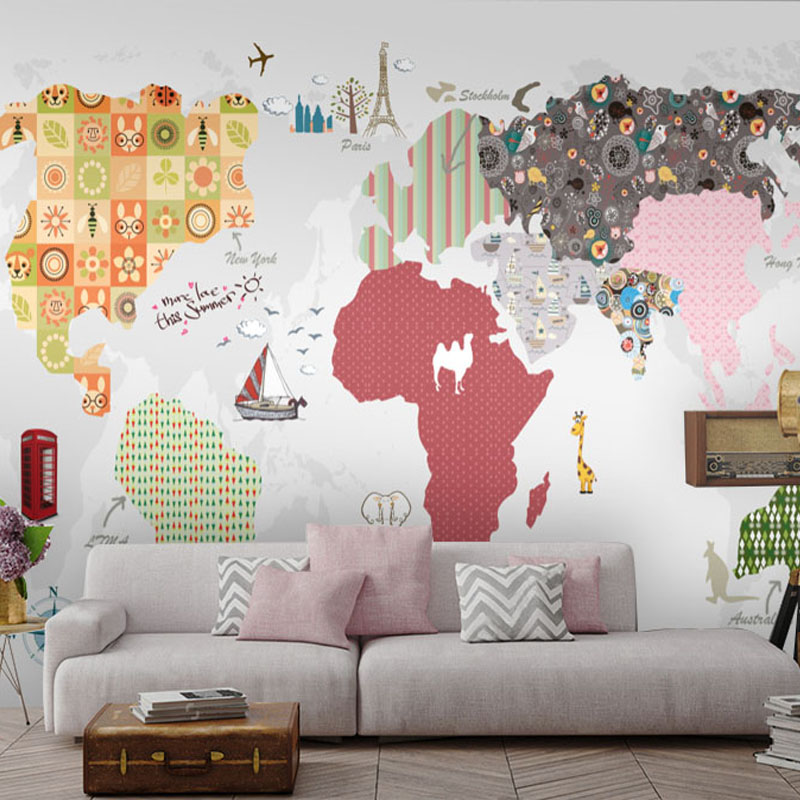 цена на discount cartoon world map with animal art mural wallpaper home decor accessories for living room wallpaper decoration