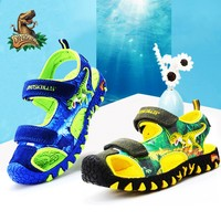 DINOSKULLS Dinosaur Kids Sandals Boys Closed Toe Cut Ous Summer New Fashion Designer Fastening Children's Beach Sandals EU 27~34