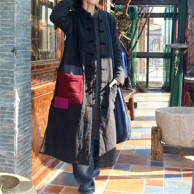 Johnature 2019 Winter New Women Parkas Black Thick Warm Long Sleeve Coats Patchwork Vintage Long Parkas