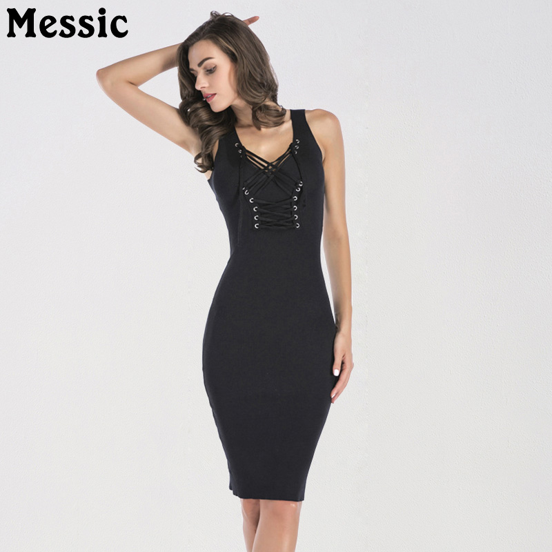 Messic Knitted Lace Up Black Pencil Dress 2018 Summer V Neck Knee Length Bodycon Robe Femme High Waist Party Dresses Womens knee length bodycon womens dress