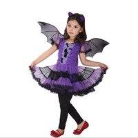 Cadılar bayramı kızlar elbiseler çocuklar mor bat kız cosplay kostüm cosplay kostüm giyim çocuklar 8 10 elbise 14 yıl genç bebek
