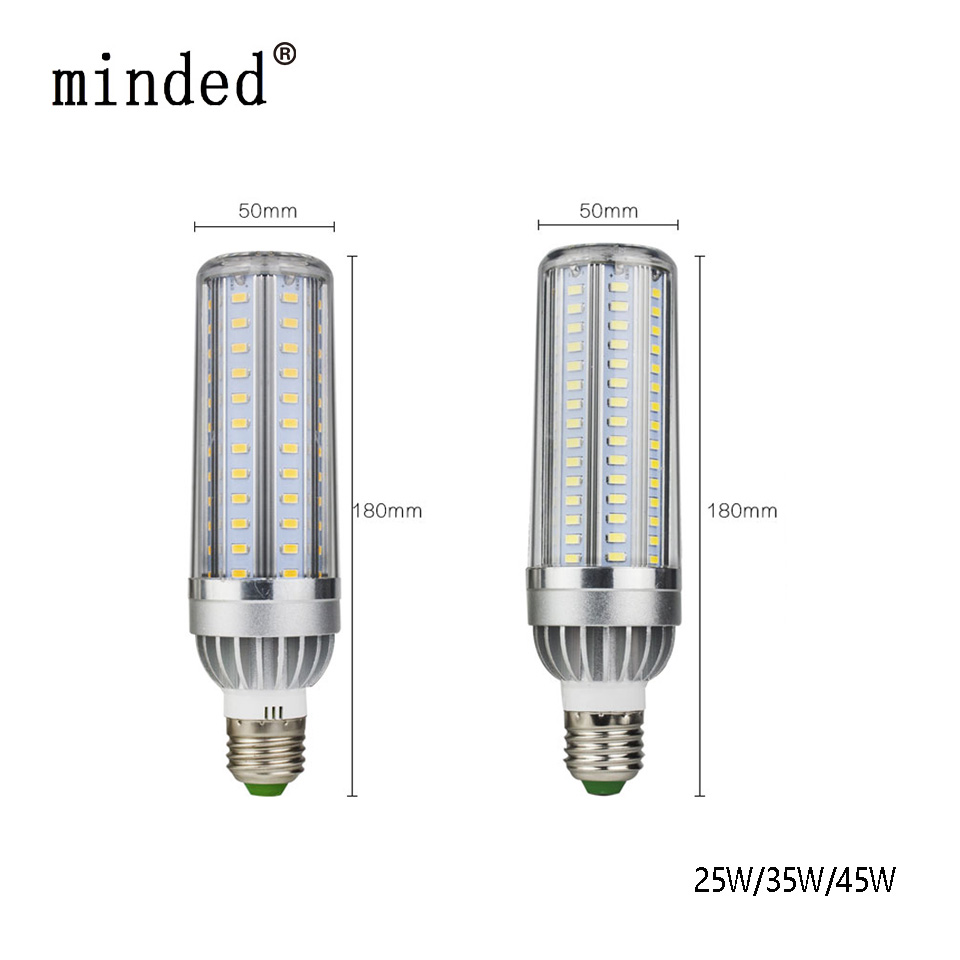 minded 5730 SMD Led Corn Bulb Aluminum Fan High Power Super Cooling No Strobe Lamp 5W 35W 45W E27 LED Corn Light Bulb AC85-265V high power 12v led bulb smd 5730 portable led lamp outdoor camp tent night fishing hanging light lamparas 3w 5w 7w 9w 12w