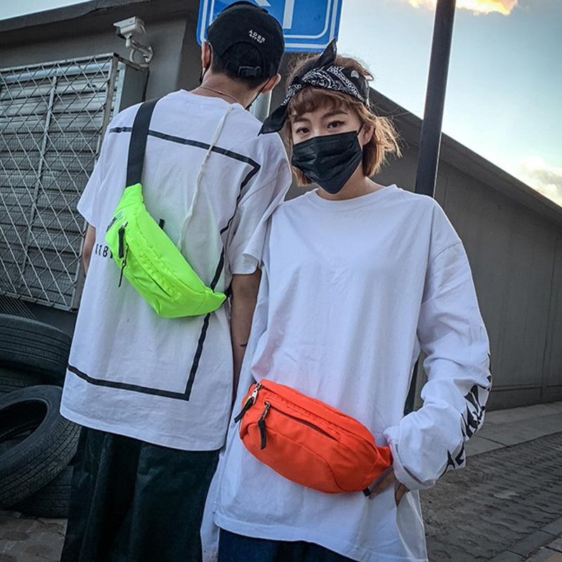 Neon Green Men And Women  Waist Bag Pockets Outdoor Multifunctional Casual Men Mobile Phone Packet Hip Hop Street