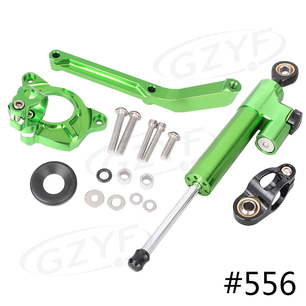 CNC Steering Damper Stabilizer w/ Bracket Mounting Kit Satety Control for Kawasaki Z1000 2014 2015 2016 Anodized fxcnc aluminum motorcycle steering stabilizer damper mounting bracket support kit for kawasaki z1000 2014 2016 2015