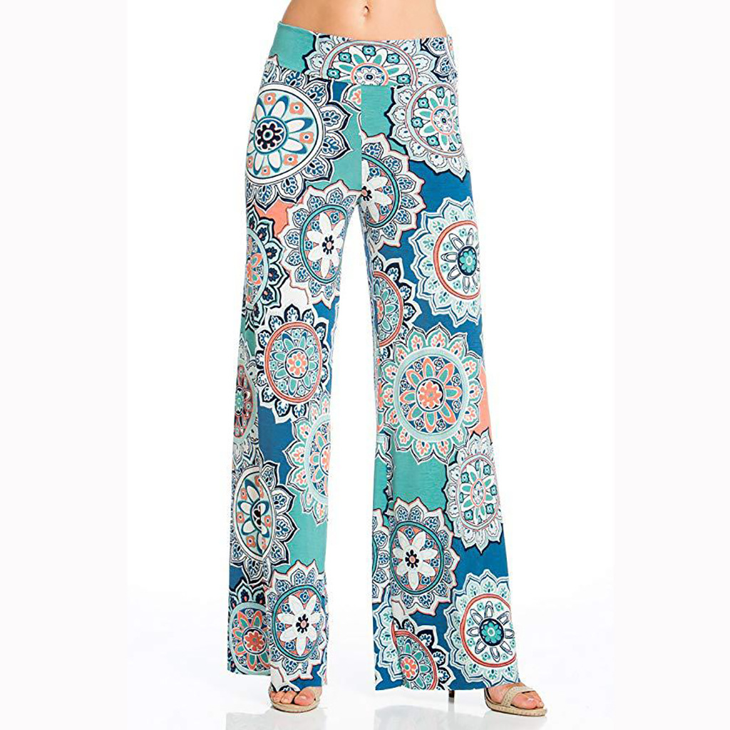 Bohemian Mandala Print Wide Leg Pants Women Summer 2019 High Waist Beach Pants Casual Long Trousers Geometric Printed Pantalon