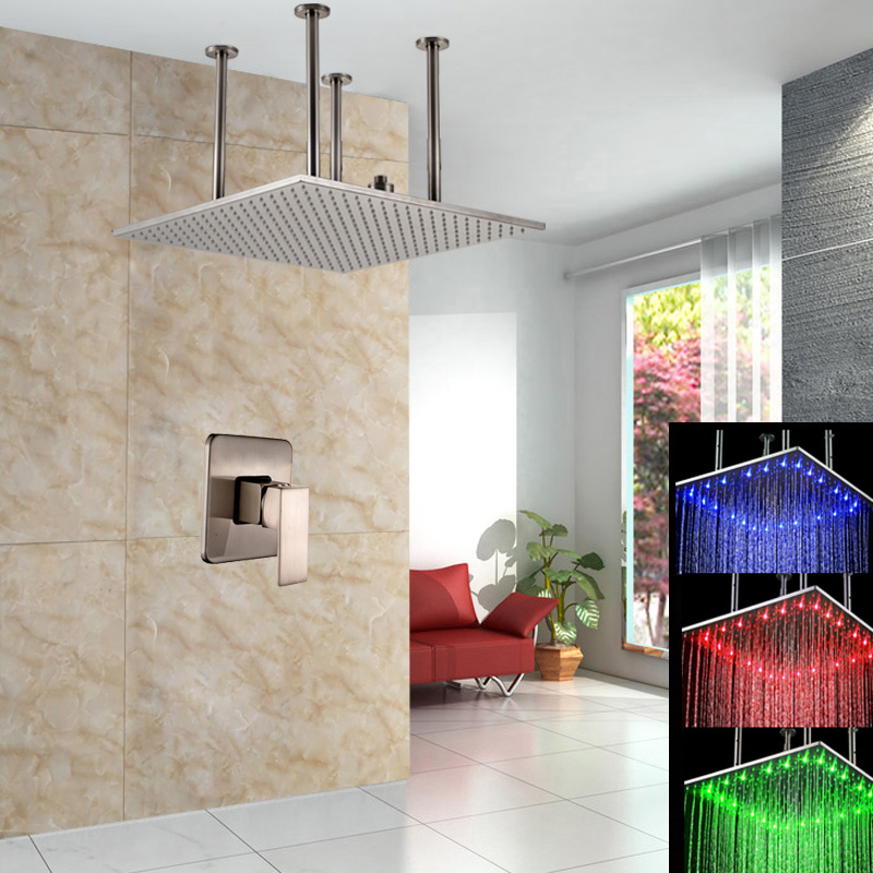 Retail High Quality Brass LED Light Shower Head 3 Color Changing Bathroom Shower Mixer Faucet цена и фото