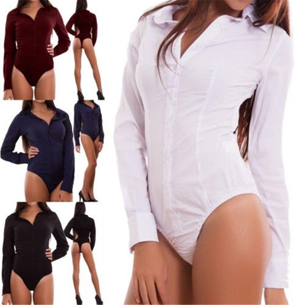 2020 NEW Fashion Women Casual  V-Neck Long Sleeve Shirt Jumpsuit Bodycon Button Shirt Romper Body Tops Blouse Bodysuit