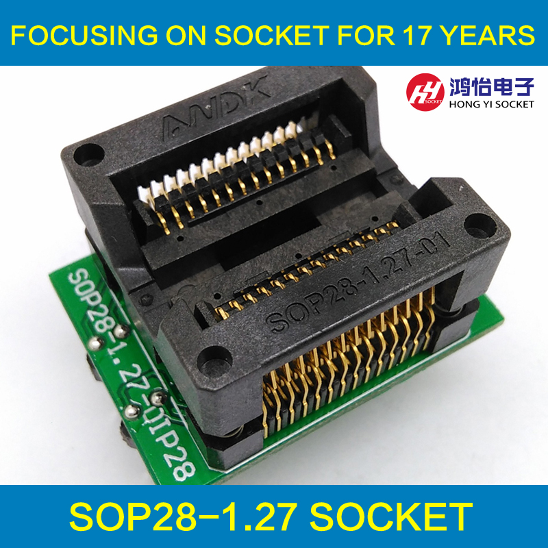 SOP28 SOIC28 SO28 to DIP28 IC Test & Programming Socket Pitch 1.27mm IC Body Width 7.5mm 300mil OTS-28-1.27-04 Test Adapter import ots 28 0 65 01 burning seat tssop28 test programming