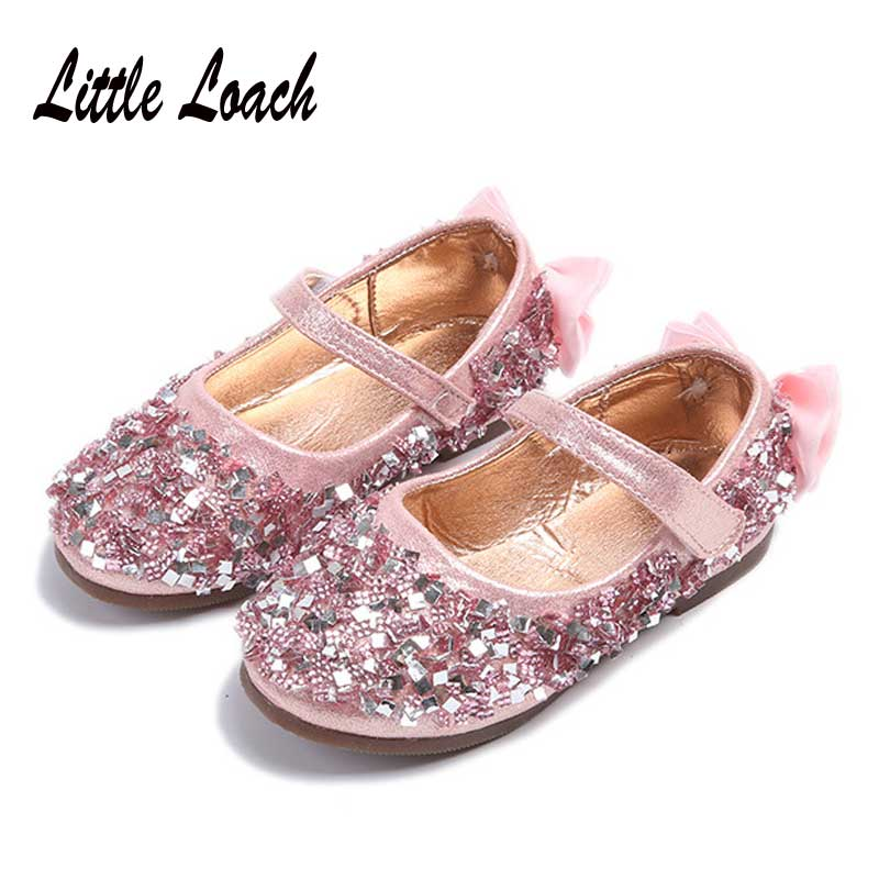 Kids Rhinestone Dress Shoes For Girls Size 26 36 Sequines Fashion Flats  Bowknot Design Spring Summer Moccasin Leather Shoes-in Sneakers from Mother    Kids ... 990a8b647fa8