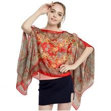 цена на Women cover-ups paisley floral loose bikini cover up summer beach swimwear dress scarf pareo sarong wrap chiffon polyester scarf