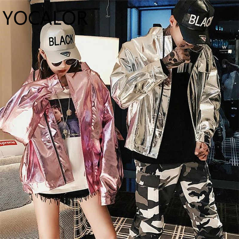 Coat Men And Women Hip Hop Silver Light Leather Clothing Jacket Loose Harajuku Chaqueta Mujer Riverdale Windbreaker Jackets