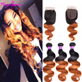 Wet And Wavy Virgin Brazilian Hair With Closure 3 Bundle Brazilian Hair Weave Bundles With Closure Two Tone Ombre Body Wave Hair