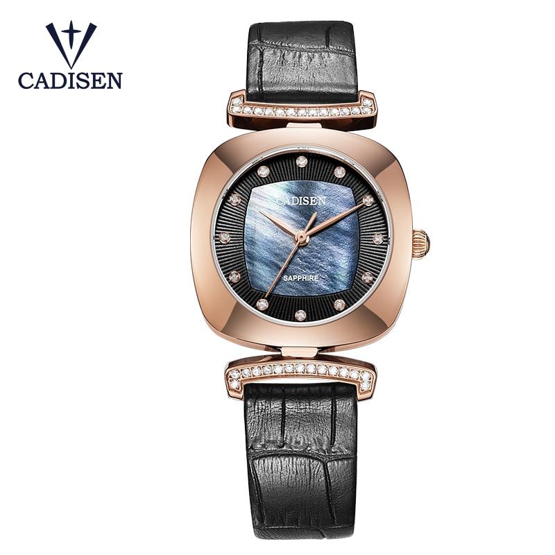 2017 CADISEN Luxury varumärke kvinnors klockor Quartz Watch-Äkta Läder Armbandsur Klocka Relojes Mujer Women's Watch
