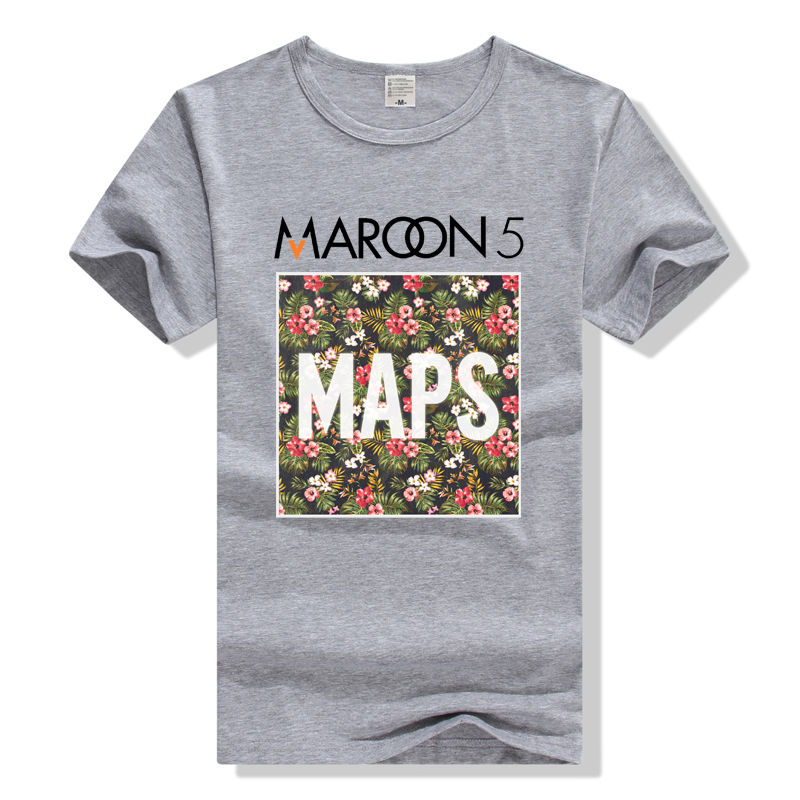 Awesome Shirts Short O-Neck Christmas Mens Middle Aged Design Maroon 5 Maps Rock Shirt