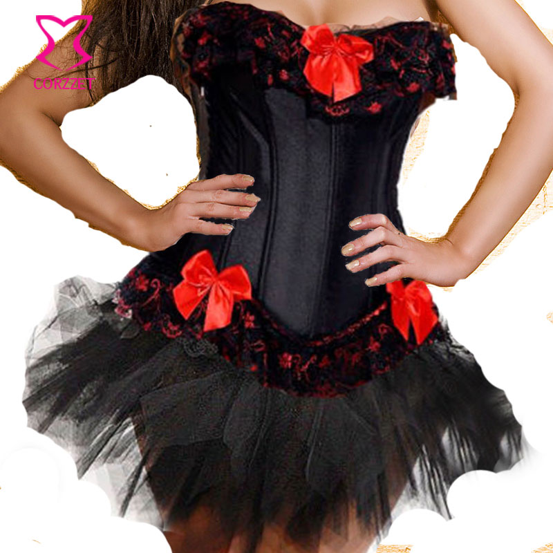 3b8be4626c Black   Red Bows Lolita Burlesque Corset Skirt Dress Waist Trainer Sexy Plus  Size Corsets and Bustiers 6XL Korsett For Women