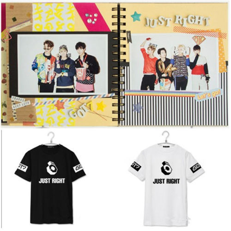 Kpop got7 right to print black white summer t k pop fans support got7 short sleeve