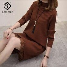 2018 Autumn Women's Dresses Fashion Straight Solid Lace Wrist Sleeve Sweet Mini O-Neck Sweater Slim Dresses Hots Sale D88308L