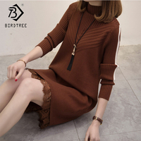 2018 Autumn Women's Dresses Fashion Straight Solid Lace Wrist Sleeve Sweet Mini O Neck Sweater Slim Dresses Hots Sale D88308L