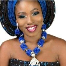 Купить с кэшбэком Crystal Jewelry Set Fashion Women Royal Blue White Silver Nigerian African Jewellery Set Bridal Earrings Bracelet and Necklace