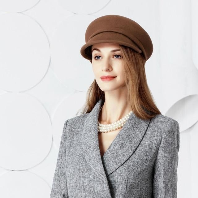 e3e3e82567f Lady Beret Caps Wool Winter Women Hat Elegant Formal Church Hat Wedding  Fedora Hat Female Wool Beret Cap New Year Gift B-7434