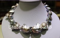 N681 Gray Big Beautiful keshi pearl necklace 17.5INCH white GP clasp 28% Discount NEW