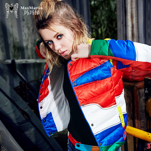 541a05e04945a fashion character colorful patchwork red down coat short parka for women  casual winter down bomber jacket 2018