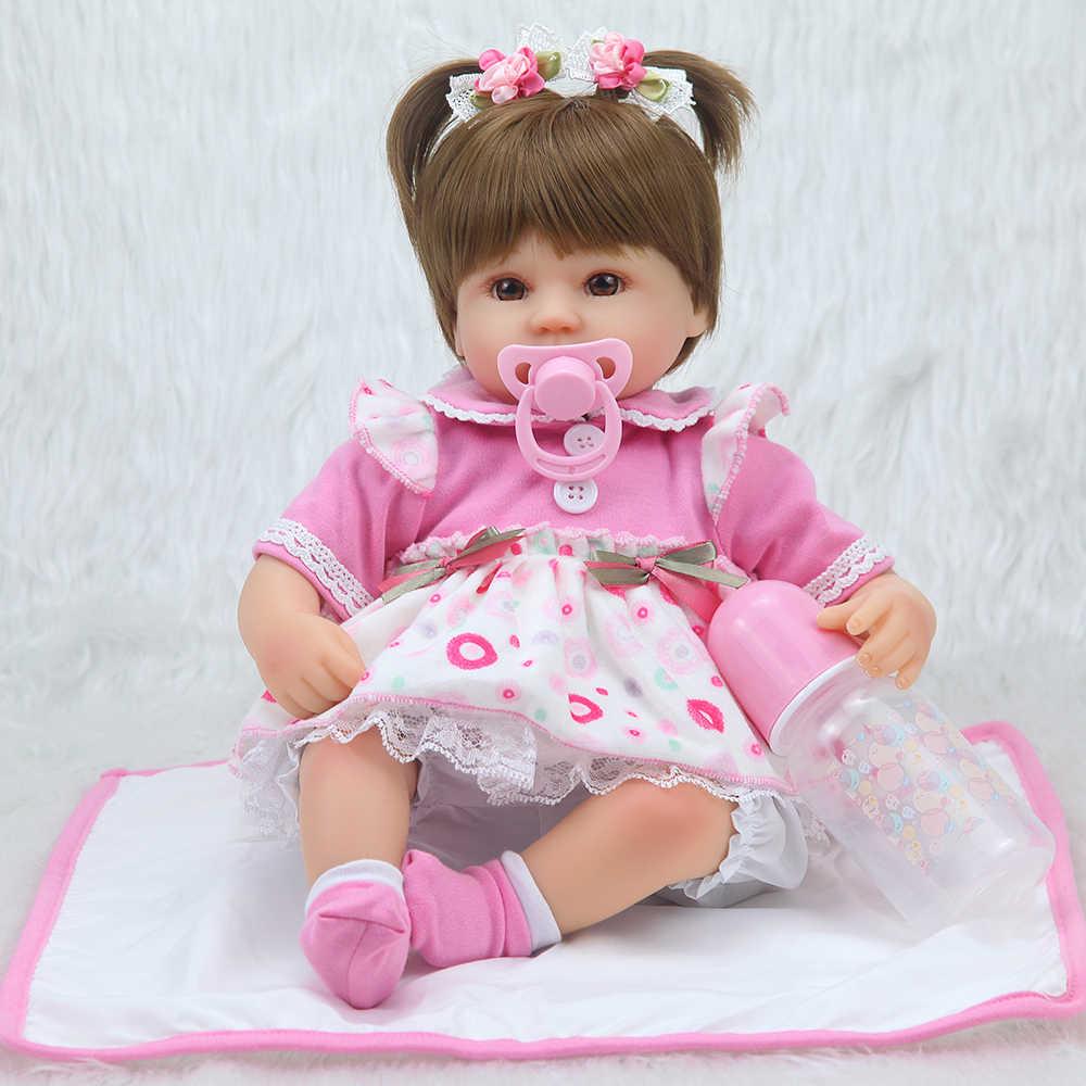 Dollseivf40cm silicone reborn bebê boneca crianças playmate presente para meninas 16 Polegada bebê vivo brinquedos macios para buquês boneca bebe renascer