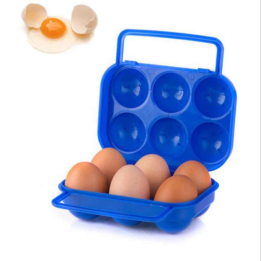 2018 Portable 6 Eggs Plastic Container Holder Folding Egg Storage Box Handle Case AP6