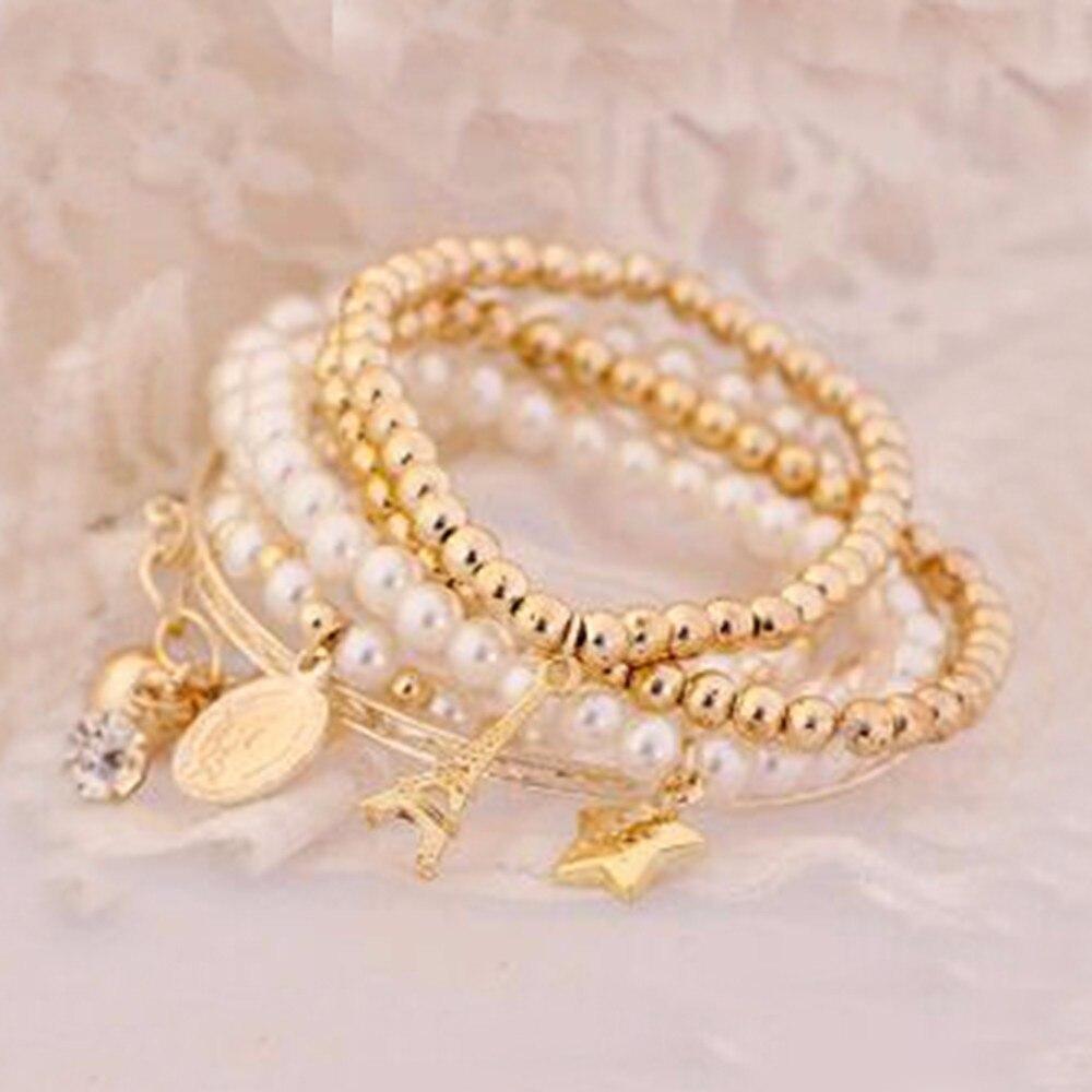 Bijoux la tour Eiffel Multicouche Vintage Bracelets Perle Pièce Combinaison